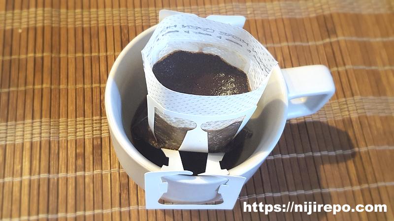 カフェインレスドリップバッグコーヒー蒸らし