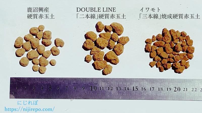 硬質赤玉土中粒3商品の大きさ比較